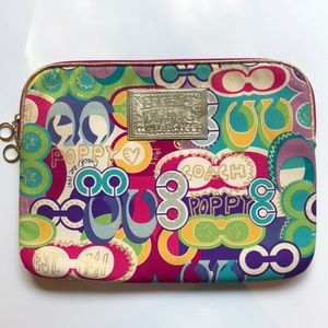 Coach Laptop Sleeve - Multi-color w/ leather trim